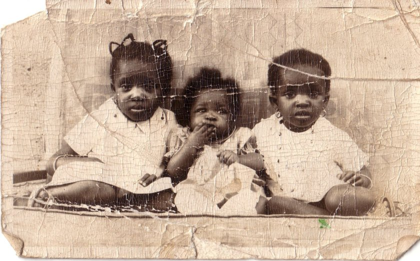 My two sisters and me. L, on right. Me in middle.